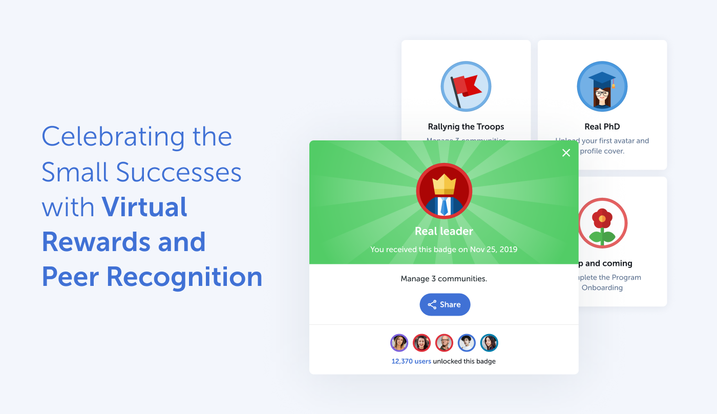 the Rallyware platform features virtual rewards and peer recognition