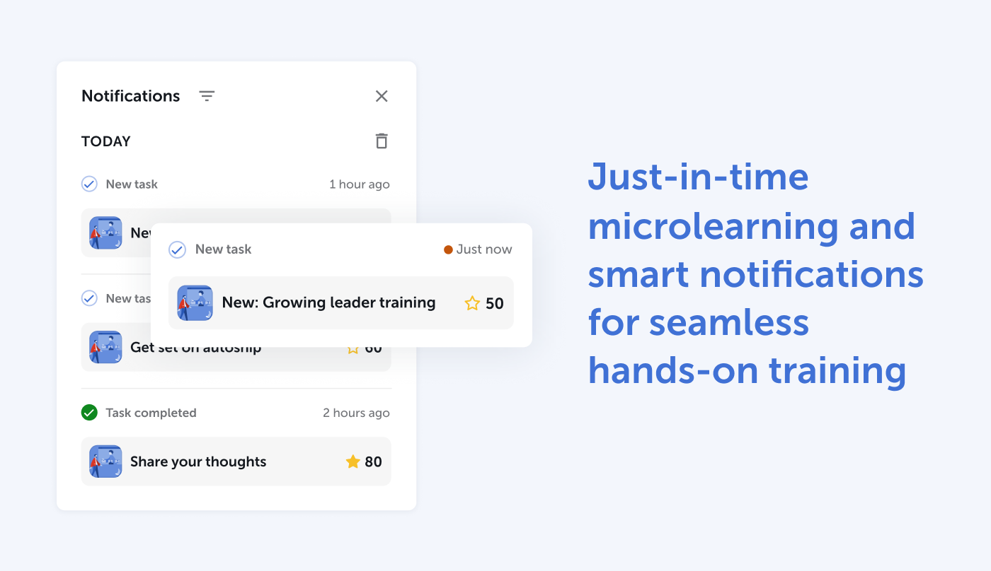 Just-in-time microlearning and smart notifications for seamless hands-on training