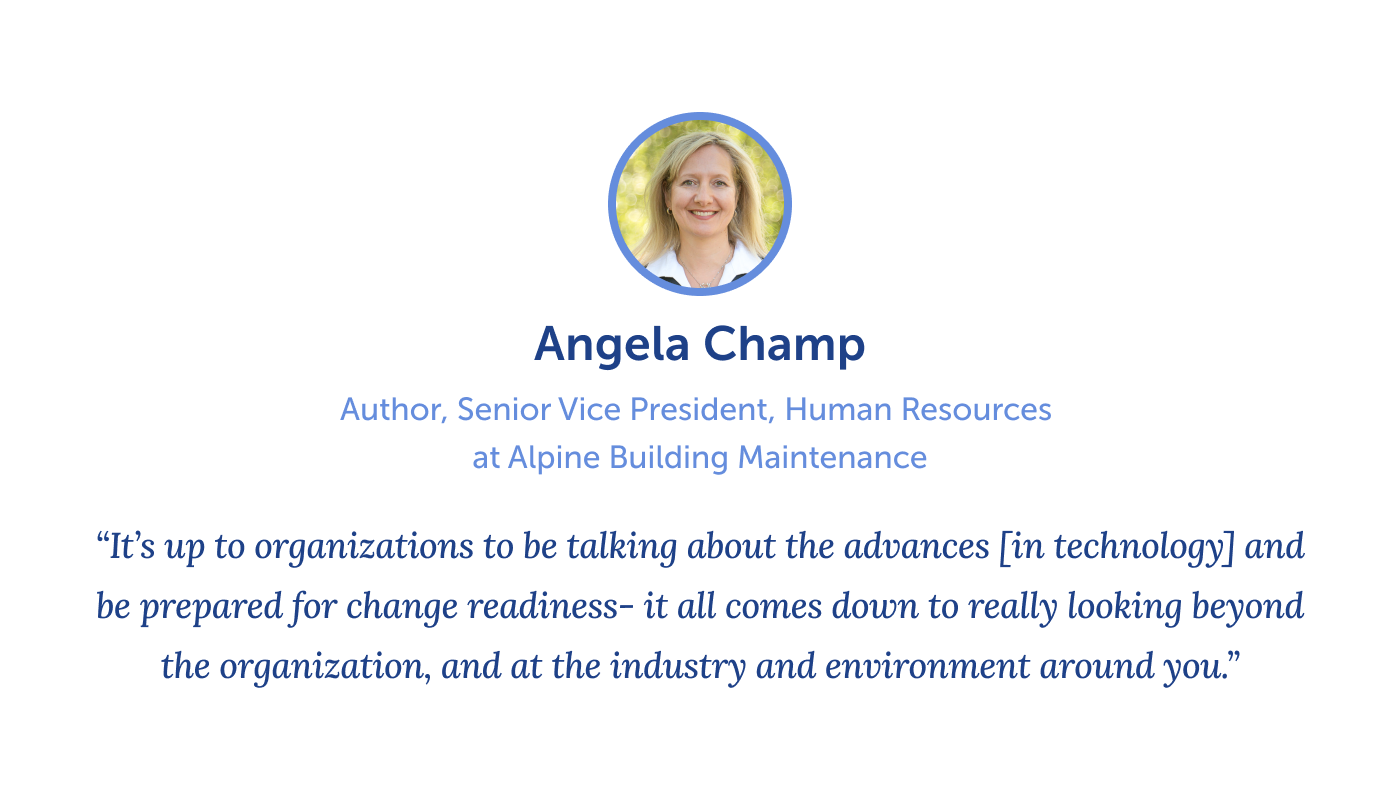 Quote from Angela Champ on reskilling and upskilling