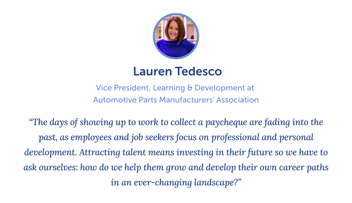 Quote from Lauren Tedesco on reskilling and upskilling